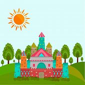 Colorful royal castle for fairy tales concept with sun on nature view background.