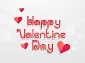 Happy Valentine Day celebration poster, banner or flyer with paper heart and stylish text on shiny background.
