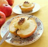 Baked apple with cottage cheese and nuts