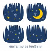Retro Christmas card with night window silhouette, stars, moon and snowflakes