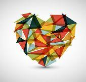 Vector retro broken heart made from color triangles