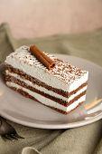 Tasty tiramisu cake on plate, close up