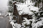 Snowfall at Gassho-zukuri village in Shirakawa-go, Japan