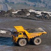 stock photo of iron ore  - Truck delivery by the motor transport of iron ore from a pit - JPG