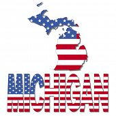Michigan map flag and text illustration