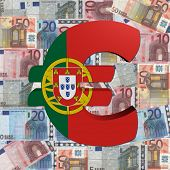 Euro symbol with Portuguese flag on Euro currency illustration