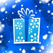 christmas gift with blue winter background