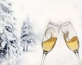 Toasting with two champagne glasses, snowy firs in the background