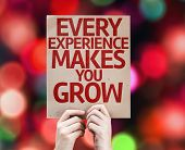 Every Experience Makes You Grow card with colorful background with defocused lights