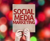 Social Media Marketing card with colorful background with defocused lights