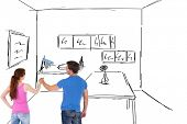 Couple painting a wall together against kitchen sketch