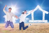 Couple jumping and holding hands against sunny brown landscape