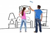 Couple painting a wall together against living room sketch