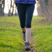 Young Sports Woman Running on the Forest Trail in the Morning. Legs View