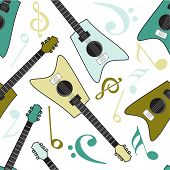 Seamless pattern of guitar with musical notes on beige background.
