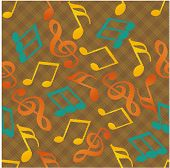 Colorful musical notes with seamless pattern.