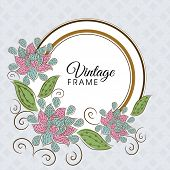 Rounded vintage frame with floral decoration on seamless background.