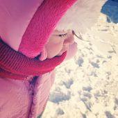 Baby girl outside in snow - Instagram effect