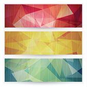 Abstract geometric triangular banners set - eps10