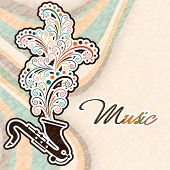 Stylish text of Music with floral design coming out from saxophone on stylish grungy background.
