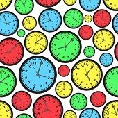 Time Zones Color Clock Seamless Pattern Eps10