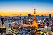 Tokyo, Japan skyline at Tokyo Tower.