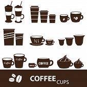 Coffee Cups And Mugs Sizes Variations Icons Set Eps10