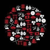 Japanese Red And White Icons In Circle Eps10