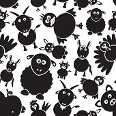 Farm Animals Simple Black And White Seamless Pattern Eps10