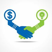 businessmen handshake between men having idea and money stock vector