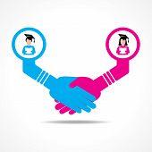 businessmen handshake between educated men and women stock vector