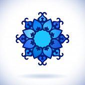 Flower, Central asian ornament, Isolated design element, Vector illustration