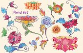 Flowers Vector Set With Lotuses And Peonies. Asian Theme