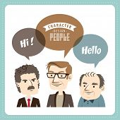 Three businessmen with speech bubbles
