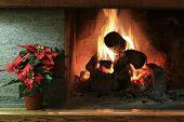 Closeup Of Stylish Home Fireplace