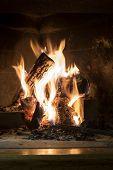Burning Fireplace Closeup Background