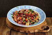 Russian Beetroot Salad Vinegrette In Blue Plate