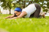Calm brunette doing yoga on grass in the park