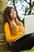 Beautiful relaxed young woman using laptop in the park