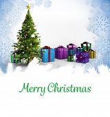 Merry Christmas against christmas tree with gifts