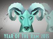 Ram head against grey vignette