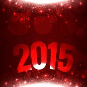 2015 written with curve on red shiny background with snowflakes on top and bottom