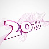 vector background of new year 2015 with stylish wave witten in perspective