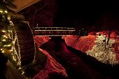 The covered bridge at Clifton Mill in central Ohio is decorated for the holidays.