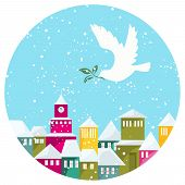 Winter Snow-covered Town And White Dove With Green Branch
