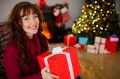 Happy redhead holding a gift at christmas at home in the living room