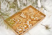 Christmas cookies in a paper box on a snow