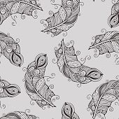 Vector Seamless Pattern With Hand-drawn Feathers