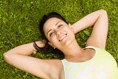 Relaxed fit brown hair lying on grass in the park
