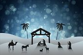 pic of nativity scene  - Nativity scene against blue abstract light spot design - JPG